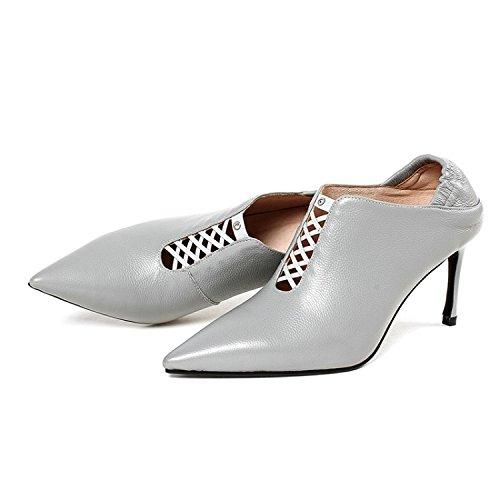 los primavera punta través zapatillas Cuero nuevos mujer de yalanshop la de dos zapatos de y productos una comienzos a tacón zapatos de única Gris expuesto cuero de a llena de alto qFUwUS8O