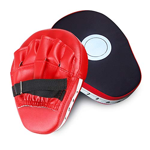 (SUNMALL 2pcs MMA Boxing Mitts Focus Punch Pad PU Leather Punching Kicking Palm Pads Taekwondo Training Boxing Target Pad Karate Muay Thai Training Gloves with Adjustable Strap)