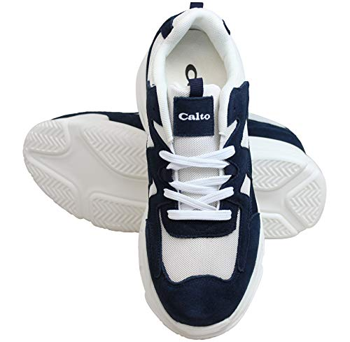 Scarpe 3 bianco Ginnastica Altezza Inch Taller Da Aumentata Leggero Blu Stringhe Con H2562 Leggere Uomo Calto Nubuck Scuro In Invisibile dT1Uvcd