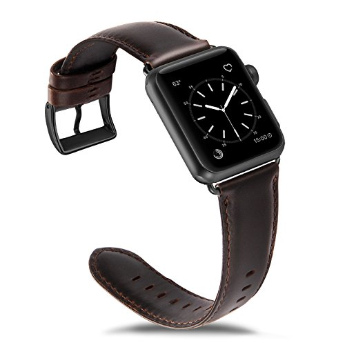 OUHENG Compatible for Apple Watch Band 42mm, Retro Genuine Leather iWatch Strap Replacement Compatible for Apple Watch Series 3 Series 2 Series 1 Sport Edition, Brownish Black Band with Black Adapter by OUHENG (Image #3)