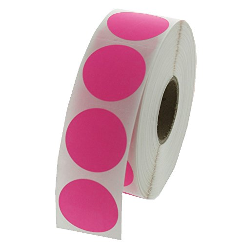 Pink Round Color Coding Inventory Labeling Dot Labels / Stickers - 1 Inch Round Labels 1000 Stickers Per Roll