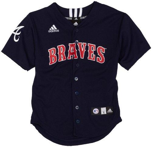 MLB Boys' Atlanta Braves Screen Print Baseball Jersey, Dark Navy, Medium ()
