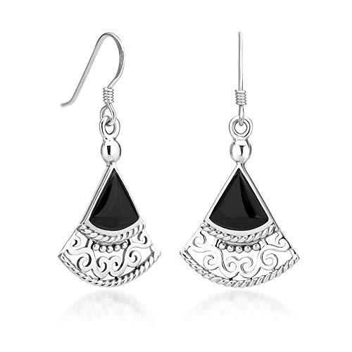 925 Sterling Silver Bali Inspired Filigree Black Onyx Gemstone Triangle Fan Dangle Earrings