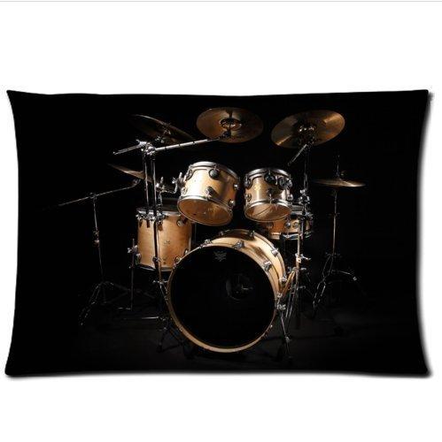 - Personalized Cool Rock Drum Set£¬Classic Drum kit Musical Instrument Pattern Soft Satin Pillowcase,Zipper Pillow Cases