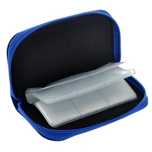 Foxnovo Portable 22 Slots SD SDHC MMC CF Micro SD Memory Card Holder Pouch Case Zippered Storage Bag Protector (Blue)