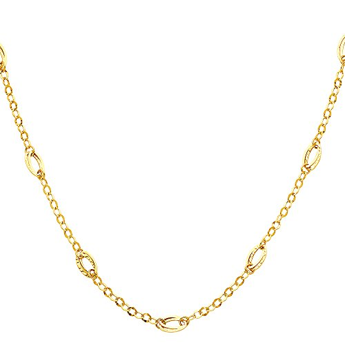 Circle Link 18' Necklace - Paradise Jewelers 14K Hollow Yellow Gold Circle and Oval Links Necklace - 18''