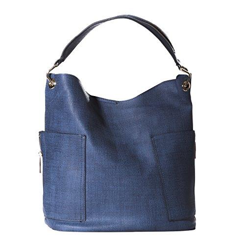 Handbag Republic Women Handbag PU Leather Top Handle Bag Korean Fashion Tote Style With Side Zipper Pouch (Denim Dark (Blue Leather Handbags)