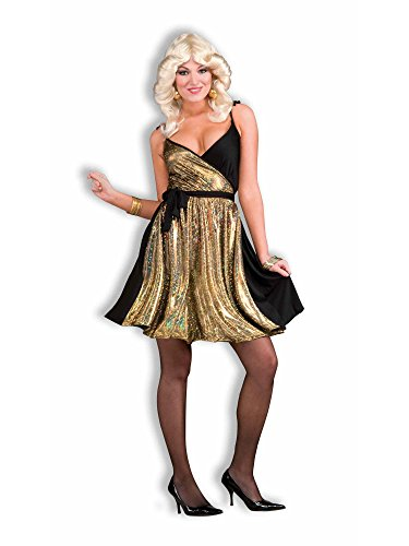 Forum Novelties Women's 70's Disco Fever Deluxe Disco Gold Costume Dress, Multi, One Size -