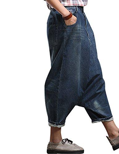 Youlee 3 Harem Stile Foro Pantaloni Donna Jeans Leg Ampia Elastico Vita 1qxwUrp1A
