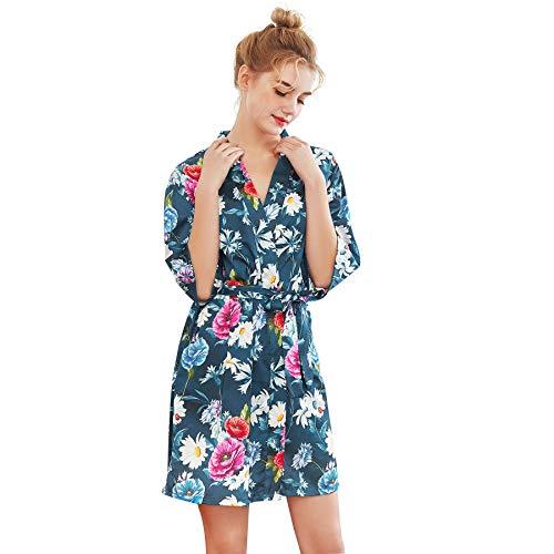 Belle Heure Women Satin Short Kimono Floral Robe Silky Nightgown Bridal Dressing Bridesmaid Gown Sleepwear