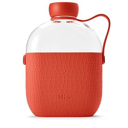 - Hip 22-oz Tritan BPA-Free plastic Water Bottle with Textured Silicone Sleeve and Side-Strap (Coral)