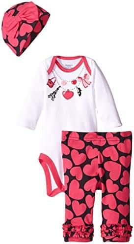 Gerber Baby Girls 3 Piece Set - Bodysuit, Cap and Pant