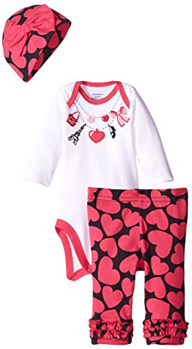 Gerber Baby-Girls Newborn 3 Piece Bodysuit Cap and Legging Set, Necklace, 0-3 Months