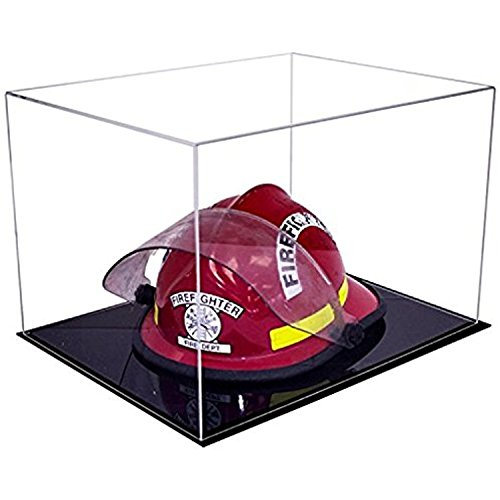 (Deluxe Clear Acrylic Fireman's Helmet Display Case with Black Acrylic Base (A014-DS) )
