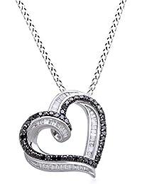 1/2 Ct Black & White Natural Diamond Heart Pendant In 14k Gold Over Sterling Silver