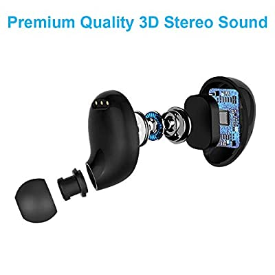 True Wireless Earbuds, Ylife TWS Bluetooth 5.0 Headphones in Ear Stereo Wireless Earphones, IPX5 Waterproof, Auto Pairing, 90H Playtime with 3500mAH Charging Case (Grey)
