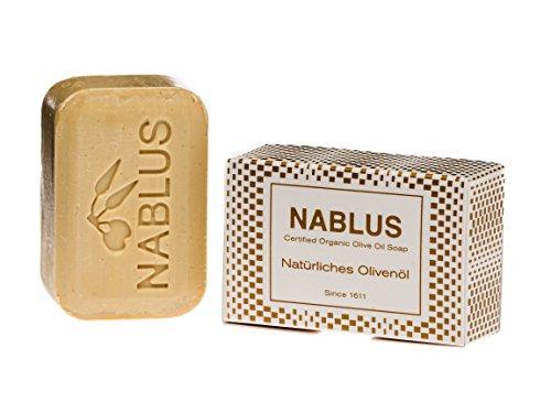 Nablus Soap Natürliche Olivenölseife, aus extra nativem Olivenöl aus erster Pressung, handgemacht, palmölfrei 100g
