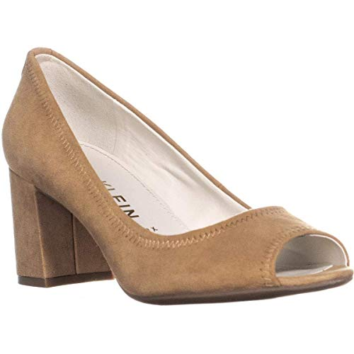 Anne Klein Womens Meredith Leather Peep Toe Classic Pumps, Natural, Size 6.0