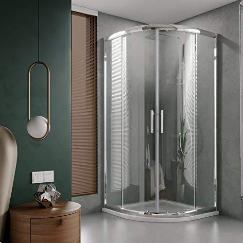 ELEGANT Sliding Corner Glass Round Shower Enclosure, 36 7/10