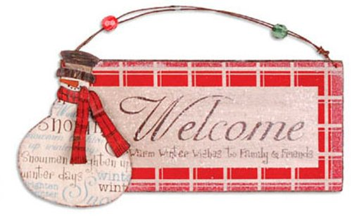 Sunset Vista Rusty Hinge Snowman, Snowman Welcome Door Sign, Red, Small (Welcome Sign For Door compare prices)