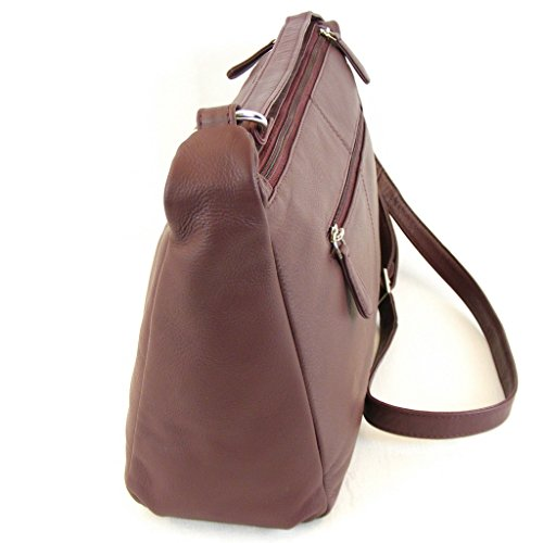 Pavini Damen Tasche Crossovertasche Berlin Leder bordo 13377 Reißverschluss