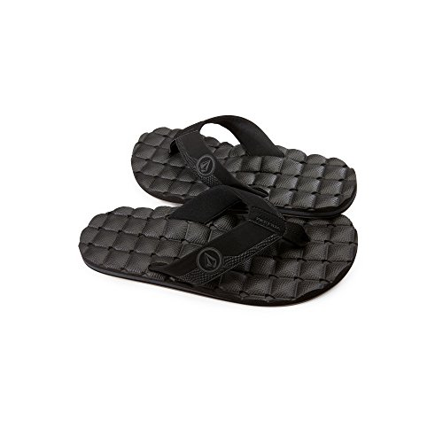 (Volcom Men's Recliner FLIP Flop Sandal, Black Destructo, 14 B US)