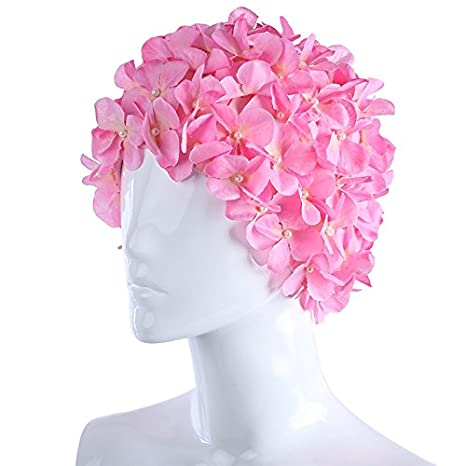 Water Sports Flowers Design Cap Delicate Personalized Three-Dimensional Petal Swimming Caps for Long Hair Sale - (Color: Colorful) WD-007-308