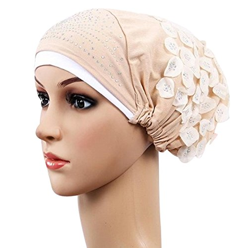 Sttech1 Head Scarfs for Women with Cancer, Women Muslim Stretch Turban Hat Chemo Cap Hair Loss Head Scarf Wrap Hijib Cap (Beige)