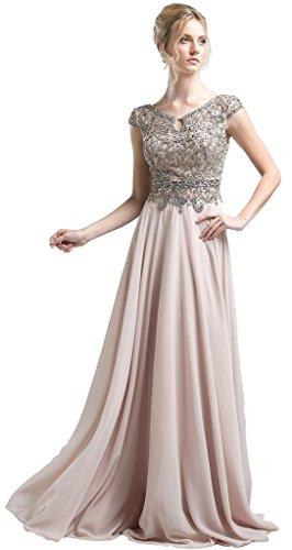 Meier Women's Cap Sleeves Beaded Bodice Evening Formal Dress size 8