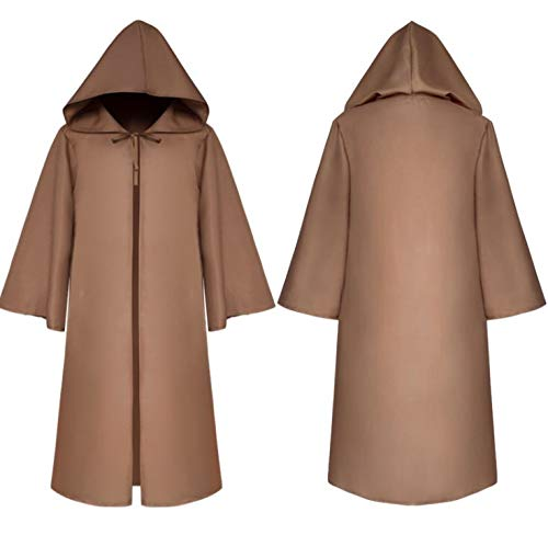 Majika Hooded Cloak for Star Wars Parties - Brown or Black - Kids & Adults Halloween Costume, LARP, Dress Up, Cosplay - Jedi, Vader (Adult Medium, Brown)