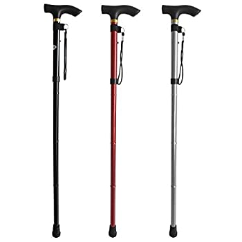 Topeakmart Walking Stick Aluminium Folding Easy Adjustable Light Weight Support Aid Cane (Black)