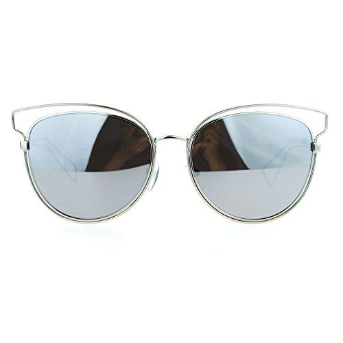 SA106 Womens Wire Horn Rim Cat Eye mirrored Mirror Lens Sunglasses Silver - Rim Glasses Wire Trend