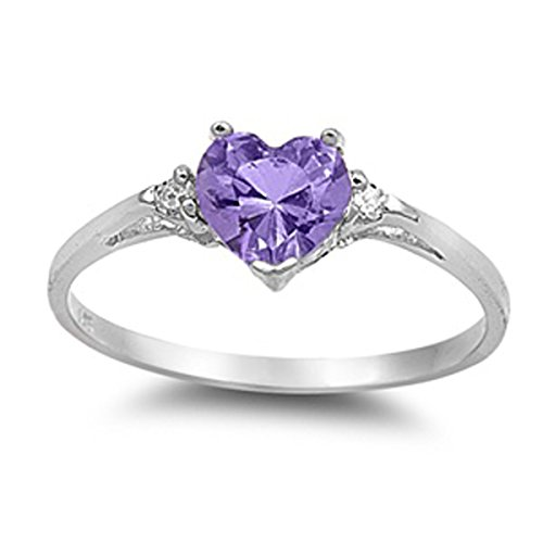 Sterling Silver Women's Flawless Purple Cubic Zirconia Solitaire Heart Ring (Sizes 3-12) (Ring Size 3)
