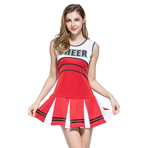 Ladies Sexy Varsity High School Cheer Girl Cheerleading Uniform Halloween Fancy Dress Costume Cheering Poms (School Girl Fancy Dress Halloween)