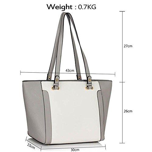 TrendStar - Bolso de tela para mujer gris C - Grey/White