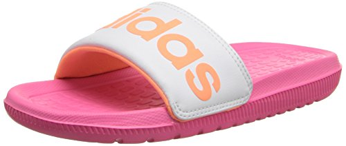 adidas Performance Voloomix XJ Slide Sandal,Pink/White/Flash Orange,6 M US Big Kid (Kids Slide Shoes)