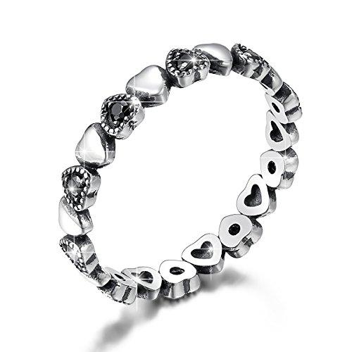 BAMOER 925 Sterling Silver Endless Love Heart Ring Stackable Finger Ring Black CZ for Women Girls Wedding Birthday Anniversary Gift Ring Size 6 (Nice Design Silver)