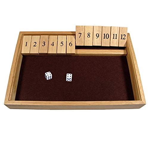 - WE Games Deluxe Shut The Box - Wooden Board Game with Dice for The Classroom, Home or Pub - 14 in.