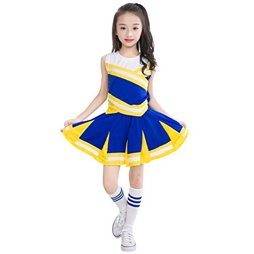 Cheerleading Uniforms For Halloween (Happy childhood Little Girls' 2 Piece High School Cheerleading Uniform Costume Complete Outfit Cosplay Fancy Dress)