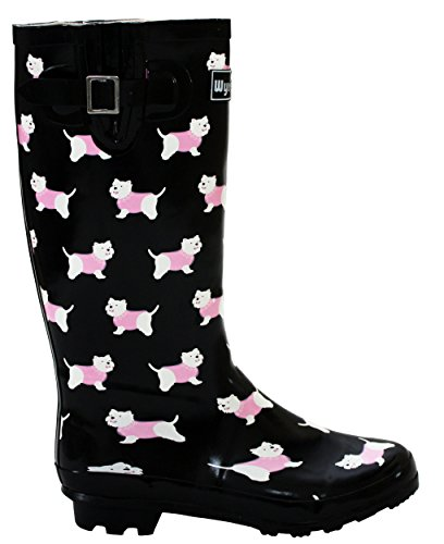 Width Wellies Yorkie Boots Maximum Festival A cm Ladies Waterproof 3 Calf UK 42 Mud Black Womens Calf Adjustable 4 Wellington Footwear 8 New Rain Snow Dog UK amp;H Wide FFxZ1