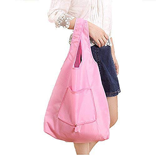 SHUYUE 2 Pack Supersize Reusable Grocery Shopping Bag Large Tote Bag Folding Travel Recycle Bag Ripstop Nylon Tote Bag Foldable Integrated Pouch (Pink) ()