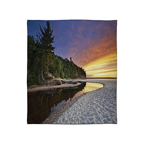 YOLIYANA Super Soft Blanket,Landscape,for Camping Bed Couch,Size Throw/Twin/Queen/King,Scenic Seaside Sunset Wavy Waters Seafoam ()