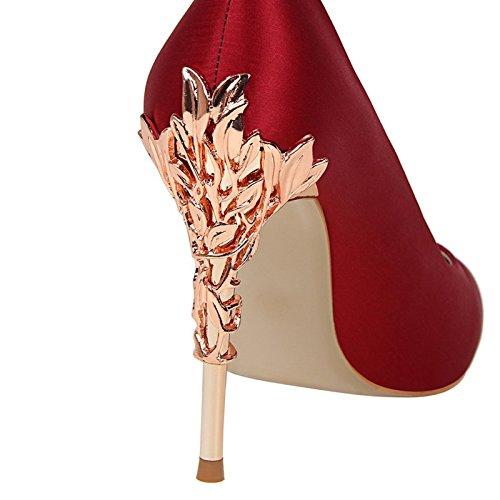 di scarpe con stile YMFIE tacco alto gules ladies' europeo raso party incavate sottile lavoro appuntito in singola In intagliato calzatura sexy parti e da scarpe 1wwqz5Z