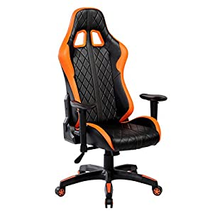 Swivel PU Leather Gaming Chair, Large Size Racing Chair, Racing Style High-back Office Chair, Ergonomic Computer Chair Cushion Headrest Lumbar Support from MODERN FURNITURE LLC