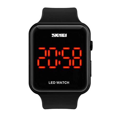 Unisex Square Large Face LED Digital Watch Electronic for Men Watch for Women Student Silicone Watches (Black)