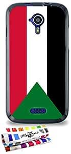 Carcasa Flexible Ultra-Slim WIKO CINK FIVE de exclusivo motivo [Bandera Sudán] [Negra] de MUZZANO  + ESTILETE y PAÑO MUZZANO REGALADOS - La Protección Antigolpes ULTIMA, ELEGANTE Y DURADERA para su WIKO CINK FIVE