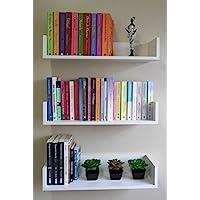 3 Prateleiras 60cm x 20cm x 11,5cm para livros e decoração - MDF Branco
