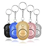 ELZO Personal Alarm, Security Alarms Keychain with LED Flashlight for Women/Students/Girls/Elderly (Silver&Gold&Blue&Rose Gold&Black, 5 Pack)