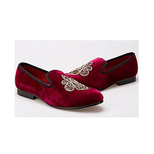 47 Ochenta Men Y 38 Mocasines Rhinestone Eu Fiesta Shoes Rojo Boda Handmade Crystal Colorful Velvet Hombre Vino IxAzx6r