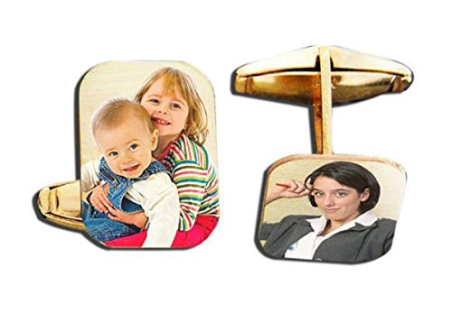 PicturesOnGold.com Photo Engraved Rectangle Cuff Links - Solid 14K White Gold Per Pair